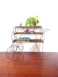 Vintage 60's Metal Plant Stand  Rolling Tea Cart by LUCKYHOMEFINDS Shabby Chic Cottage, Shabby Chic Homes, Metal Plant Stand, Tea Cart, Porch And Balcony, Iron Plant, Garden Stand, Vintage Love, Vintage Home Decor