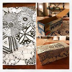 My saltine box makeover. #doodle #saltines #makeover #instadoodle #instaart #pnw 如何將餅乾盒變成收納盒