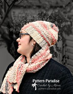 Free Crochet Pattern for textured hat and scarf set by Pattern-Paradise.com #patternparadisecrochet #crochet #scarf #freepattern #hat
