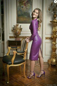 Purple leather dress