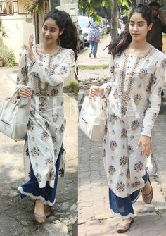 (Jhanvi Kapoor )royal blue pant and white wid print kurti Pakistani Dress Design, Pakistani Dresses, Indian Dresses, Indian Outfits, Kurta Designs Women, Blouse Designs, Indian Attire, Indian Wear, Salwar Kurta