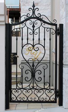 48 Steel Gate Design Idea is Perfect for Your Home Wrought Iron Gate Designs, Wrought Iron Garden Gates, Metal Gates, Wrought Iron Doors, Wooden Gates, Steel Gate Design, Door Gate Design, House Gate Design, Window Grill Design