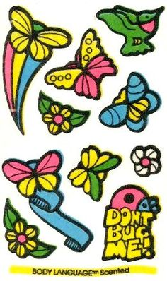 Butterflies, Birds and Bugs Mello Smello Body Language scratch and sniff sticker tattoos - 1980's