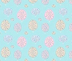 Trees and dots fabric by nossisel on Spoonflower - custom fabric