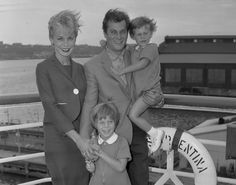 Actress Janet Leigh and Tony Curtis take children Kelly, 5, and Jamie, 2, with them as they sail from the Hudson River pier on the liner Argentina in 1961. Tony was off to Argentina to make a film.