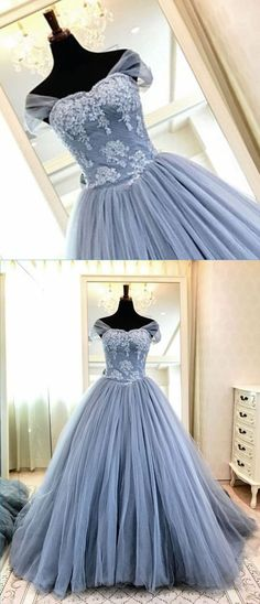 Blue gray tulle high neck cap sleeve long evening dress, long formal prom gown with appliques #prom #dress #promdress #promdresses