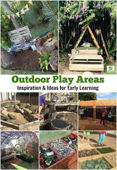 A huge collection of ideas for creative outdoor play areas shared by early years educators. Try them in the backyard or daycare spaces! play areas eyfs Ideas for Children's Outdoor Play Areas and Activities Outdoor Learning Spaces, Kids Outdoor Play, Outdoor Play Areas, Kids Play Area, Backyard For Kids, Backyard Ideas, Childrens Play Area Garden, Play Area Outside, Outdoor Play Structures