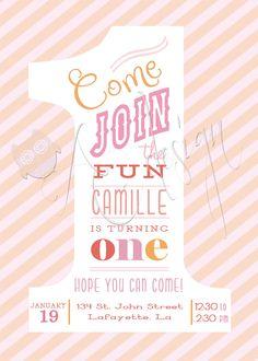 Girls First Birthday Invitation