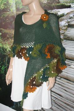 Green Crochet Knitted Triangle Shawl Cotton/ Crochet Shawl