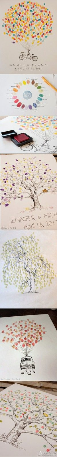 Wedding guests use their fingerprint to make a balloon or leaves on a tree.  Very cute idea!