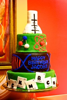 Nerd Science Chemistry Elements and DNA Cake