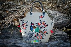Felt Purse bag   Bird singing in a blackthorn by handmaderu