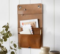 Shop Pottery Barn for our selection of wall organizers and wall shelves. Find wood and metal modular storage systems and add organization to any room. Leather Gifts, Leather Craft, Leather Totes, Leather Purses, Handmade Leather, Vintage Leather, Crea Cuir, Driven By Decor, Leather Wall