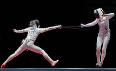Erika Kirpu (EST) competes against Lyubov Shutova (RUS) during the women's epee team bronze medal match at Carioca Arena 3 in the Rio 2016 Summer Olympic Games.     -  Best images from Aug. 11 at the Rio Olympics