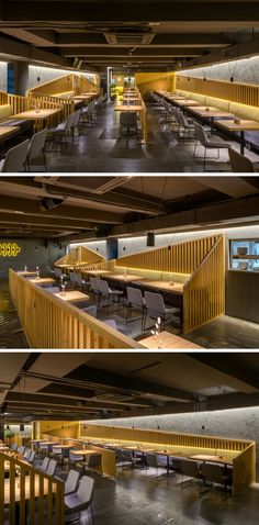 The seating in this modern restaurant and bar is designated with angled wood slat partitions, while banquette seating lines the walls, and hidden lighting gives a soft glow to the dining room. Banquette Seating Restaurant, Cafe Seating, Booth Seating, Seating Plans, Pub Interior, Restaurant Interior Design, Interior Office, Deco Restaurant, Modern Cafe
