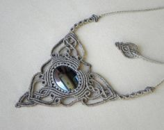 Macrame necklace with hematite goddess necklace by QuetzArt