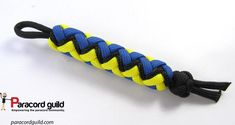 Paracord knife lanyard/key fob in minions colors.