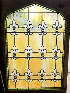 Antique American Stained Glass Window Fleur de Lis Architectural Salvage  7a8e3e901