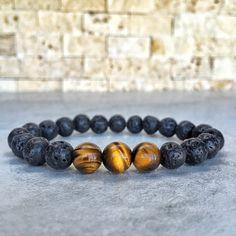 Mens Tiger Eye Bracelet Mens Lava Bracelet Mens by Miaudesignco