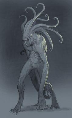 """""""Tentacel Ape"""" by Anastasios Gionis (StilleNacht) on DeviantArt (fantasy art, aliens) Dark Creatures, Alien Creatures, Fantasy Creatures, Mythical Creatures, Fantasy Monster, Monster Art, Creature Feature, Creature Design, Dark Fantasy"""