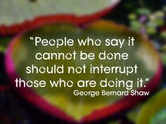 """""""People who say it cannot be done should not interrupt those who are doing it."""""""