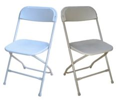 Off-White Plastic Folding White Plastic Folding Chair.  Says white but it would be awesome if they were baby blue like they appear here <3