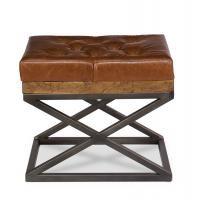 Leather Cushion Bench  Fruitwood Finish
