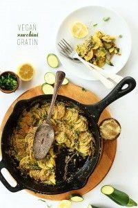 Vegan Zucchini Gratin! Simple ingredients, so many veggies, topped with vegan parmesan cheese!