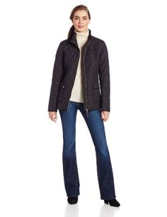 Tommy Hilfiger Women's Two Pocketzip Front Quilt Jacket, Black, Medium Water resistant. Fully lined. Zip front closure. Light fill. 26.5 inch length.  #Tommy_Hilfiger #Apparel