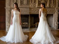 Simple, elegant and romantic with a GORG train of buttons in the back. We love this classy and chic gown from Augusta Jones Fall 2014.  Augusta Jones available at Cocoa Couture Pinned from www.dreamweddingspa.com