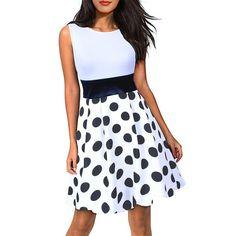 Women Cute Dots White A-line Club Sleeveless Fitted Beach Mini Casual Dress