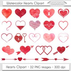 Love Hearts Wedding Hearts Watercolor Hearts Clipart Valentine Clipart Wedding Icons Red Hearts Clip Art Heart Arrows Heart Lock Heart Graphic Heart Image Heart Drawing by skaior #love #hearts #valentine #day #etsy #graphic #arrows #watercolor #red #pink