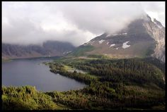 """Clouds over Hidden Lake and Bearhat Mountain in Glacier National Park, Montana and Psalm 62:6-7.  """"He only is my rock"""