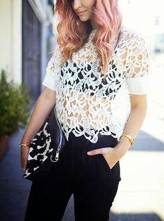 Top Zara #Crochet Lace Top. Put a full length tanktop on underneath for work