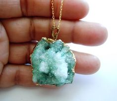 Gold Dipped Druzy Necklace - Green Pendant - Raw Crystal - Mineral Jewelry - on Etsy, $69.00