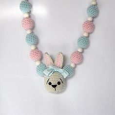 Adorable Crocheted Beads Necklace with Crocheted Bunny