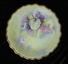 """""""A.Bronssillon"""" Signed VIOLETS Limoges Large Plate"""