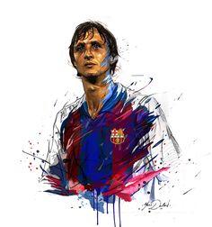 Johan Cruyff by Yann Dalon - SoccerBible Soccer Art, Soccer Poster, Retro Football, Football Soccer, Fcb Barcelona, Cristiano Ronaldo, Football Wallpaper, Digital Portrait, Sports Art