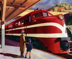 American Locomotive, 1944 by Edward Hopper Sur quai de gare, un adulte et un enfant regarde une grande locomotive rouge.