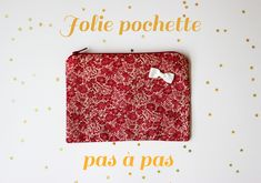DIY pas à pas : jolie pochette en tissu Diy Clothes Videos, Couture Bags, New Years Eve Party, Diy Hacks, Diy And Crafts, Patches, Notebook, Embroidery, Dimensions