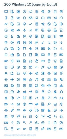 Free Windows 10 Icons – 200 icons (AI, SVG, PNG)