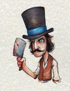Aquí está mi Bill el Carnicero de Gangs of New York (Copic en papel pergamino)
