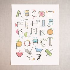 ABC poster with hand-drawn characters for each letter. Digital print. Dimensions: 11 inches x 14 inches.