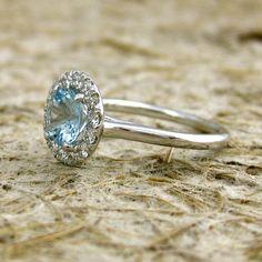 14k White Gold Aquamarine Diamond by AdziasJewelryAtelier on Etsy, 1500$
