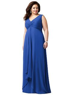 Lovelie Plus Size Bridesmaid Style 9002 - Full length V-neck dress in lux chiffon features shirred bodice and draped hi-lo skirt. Designed to flatter fuller figures, up to size 30.