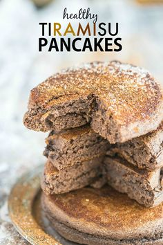 Thick and fluffy tiramisu flavoured pancakes which are actually healthy for you! Quick, easy and delicious, these pancakes are also paleo, gluten free, dairy free and come with a tested vegan option! Tiramisu Pancakes, Paleo Pancakes, Breakfast Pancakes, Pancakes And Waffles, Vegan Tiramisu, Protein Pancakes, Breakfast Dishes, Quick And Easy Breakfast, Healthy Breakfast Recipes