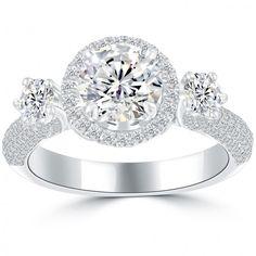 3.18 Carat G-SI1 Natural Round Diamond Engagement Ring 18k White Gold Pave Halo - Thumbnail 1