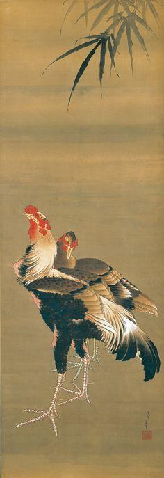 Hokusai. Gamecock and Hen, 1826–34.