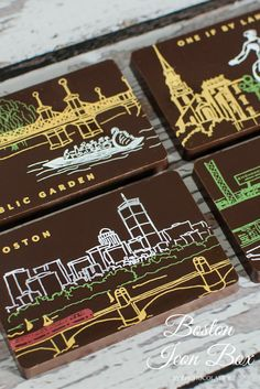 Boston views crafted by local artisan printer Albertine Press decorating EHChocolatier's dark chocolate solid tiles. Artisan Chocolate, Chocolate Shop, Best Chocolate, Indoor Grow Kits, Gluten Free Gifts, Chocolate Boutique, Tree Nuts, Edible Gifts, Business Gifts