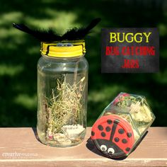 Buggy Bug Catching Jars. Great for teaching Creation. Perfect for Backyard Camping, Birthday Parties, Camping Trips.  Make the jars as a camping craft activity then the kids will have something fun to play with all weekend.